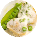 Araxi - creamy pasta with fresh peas in the pod